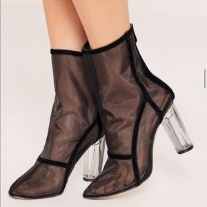 Shoes - Mesh Booties Ankle Boots Perplex Clear Heels Sz 9